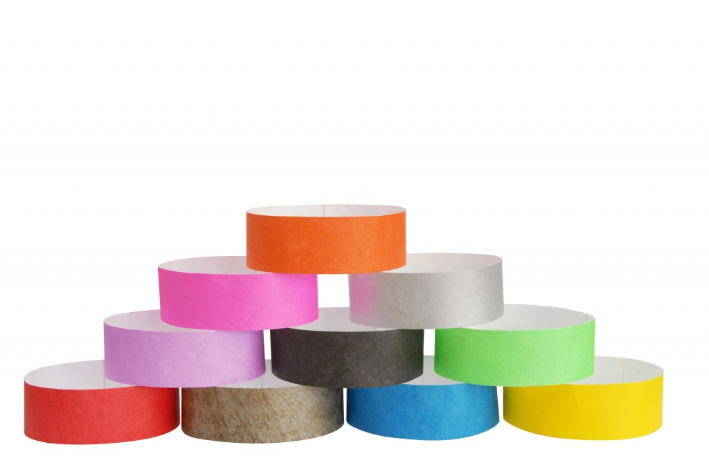 paper wrist bands Full color, full bleed wristbands for your event strong, lightweight, waterproof, durable great for business conferences, band vips, and music festivals.